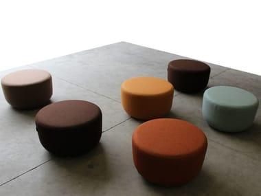 Upholstered round pouf SLALOM POUF