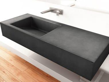 Single wall-mounted concrete washbasin SLANT 01