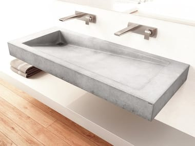 Rectangular wall-mounted concrete washbasin SLANT 03 DOUBLE