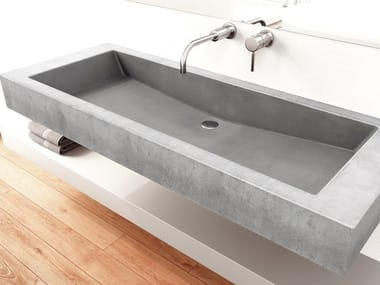 Countertop single concrete washbasin SLANT 05 DOUBLE