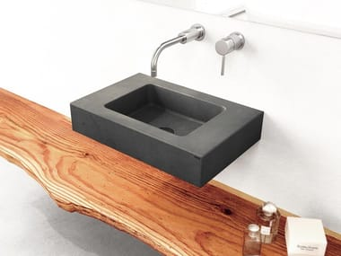 Rectangular wall-mounted concrete handrinse basin SLANT 06 MINI