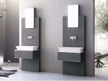 Wall-mounted vanity unit with drawers with mirror SLATE 04