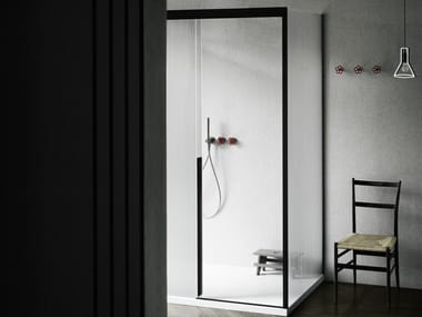 Rectangular glass shower cabin with sliding door SLIDING