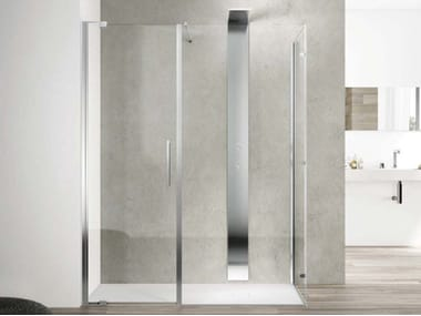 Corner glass shower cabin SLIM SLPL + SL2F