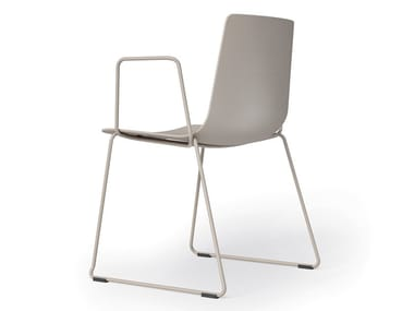 Sled base polypropylene chair with armrests SLIM | Polypropylene chair