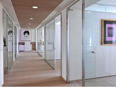 Tempered glass office partition SLIMBOX