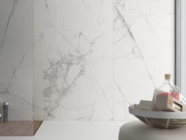 Porcelain stoneware wall tiles with marble effect SLIMMKER SYROS
