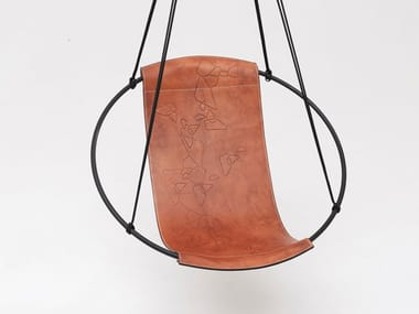 1 Seater tanned leather garden hanging chair SLING GEOMETRIC