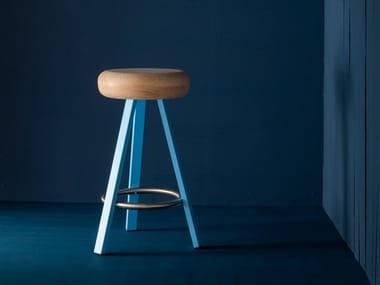 High steel and wood stool SMACK | High stool