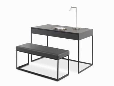 Rectangular leather writing desk SMART | Writing desk