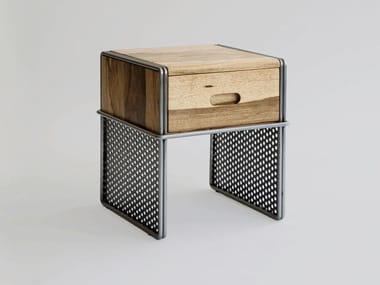 Rectangular steel and wood bedside table with drawers SMITH AND WESSON
