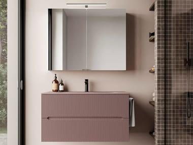 Mobile lavabo singolo sospeso in cristallo e legno SMYLE COMP 01 | Mobile lavabo