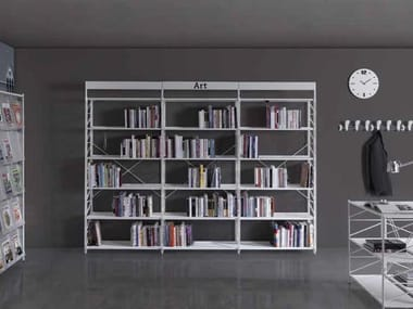 Open freestanding metal office shelving SOCRATE BIBLIOTECH