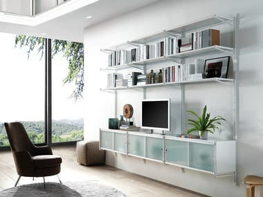 Wall-mounted sectional bookcase SOCRATE HOME | Wall-mounted bookcase