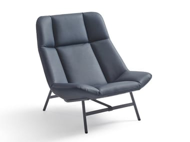 High-back leather armchair SOFT FACET   Leather armchair