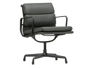 Swivel leather chair with 4-spoke base with armrests SOFT PAD CHAIR EA 208