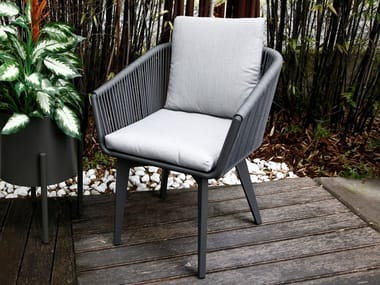 Fabric garden chair with integrated cushion SOFT