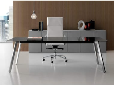 Rectangular Glass Executive Desk SOHO | Glass Office Desk