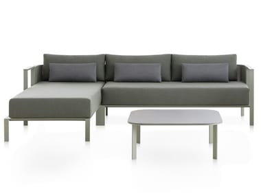 Thermo lacquered aluminium garden sofa with chaise longue SOLANAS | Sectional sofa