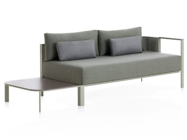 3 seater thermo lacquered aluminium garden sofa SOLANAS | Sofa with integrated magazine rack