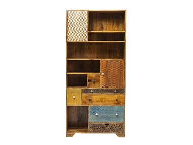 Wooden bookcase with drawers SOLEIL | Bookcase