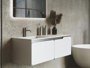 Single wall-mounted Solid Surface vanity unit with drawers SOLIDO | Single vanity unit