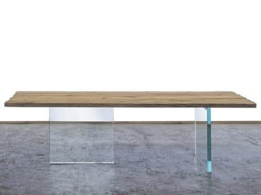 Rectangular reclaimed wood dining table SOLIGO