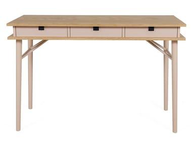 Wood veneer writing desk with drawers SOLO