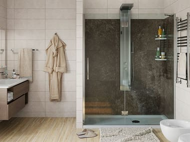 Shower cabin with hinged door SOLUZIONE ASIA