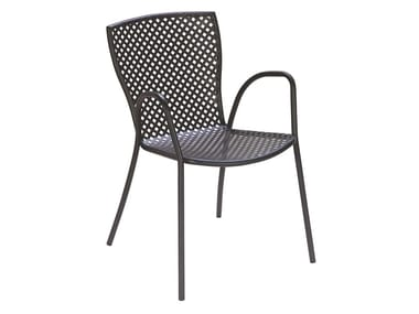 Stackable galvanized steel chair with armrests SONIA 2