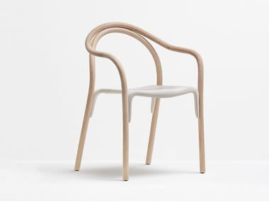 Sedia impilabile in frassino e policarbonato con braccioli SOUL | Sedia impilabile