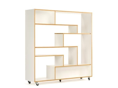 Open divider lacquered wooden bookcase SOUTHBURY