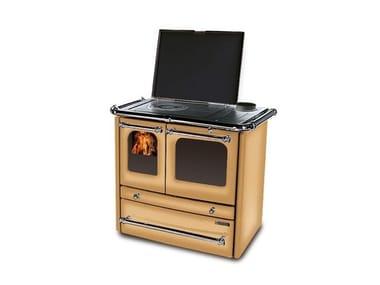 Cucina a legna con rivestimento in acciaio porcellanato SOVRANA EVO 2.0