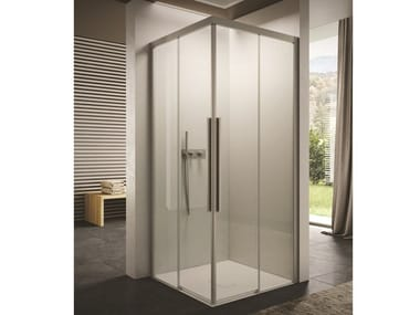 Cabine de douche carré en verre à portes coulissantes SPACE | Cabine de douche