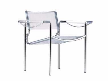 Stackable steel and PVC easy chair with armrests SPAGHETTI ARMCHAIR - 109