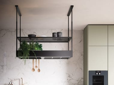 Glass and steel island hood with integrated lighting SPAZIO 130