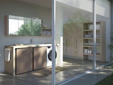 Mobile lavanderia componibile con lavatoio per lavatrice SPAZIO TIME 04 | Mobile lavanderia con lavatoio