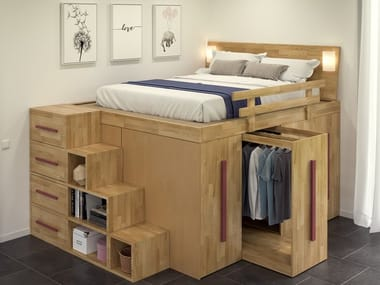 Solid wood bed with sliding clothes hangers SPAZIOBED | Bed