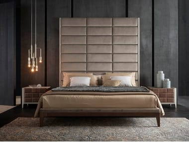 Velvet double bed with high headboard DAMA | Bed with high headboard