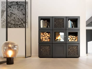 Wood-burning modular fireplace with remote control SPEETBOX BY STARCK