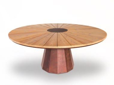 Tavolo da giardino rotondo in acciaio Corten™ SPICA