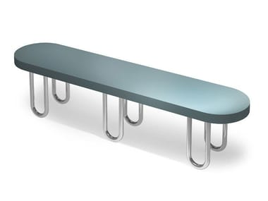 Backless engineered wood bench seating SPIDER