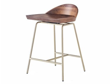 Steel and wood stool with back SPINDLE | Stool with back
