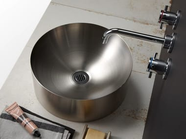 Round single metal washbasin SPINNING
