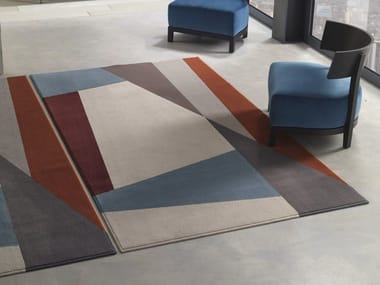 Handmade rectangular polyamide rug with geometric shapes SPLIT