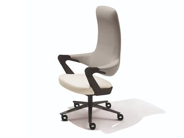 Leather executive chair with 5-spoke base with armrests with castors SPRINGER