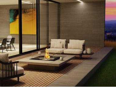 Table-top built-in bioethanol fireplace SQUARE 22