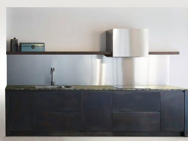 Cucina in acciaio inox con isola SQUARE BRUNITO NERO