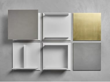 Wall-mounted sectional floating Fenix-NTM® bookcase SQUARE