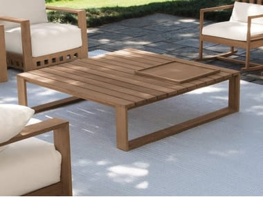 Sled base teak garden side table SQUARE | Coffee table